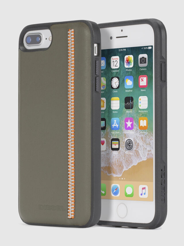 Diesel ZIP OLIVE LEATHER IPHONE 8 PLUS/7 PLUS/6s PLUS/6 PLUS CASE, Olive Green - Cases - Image 1