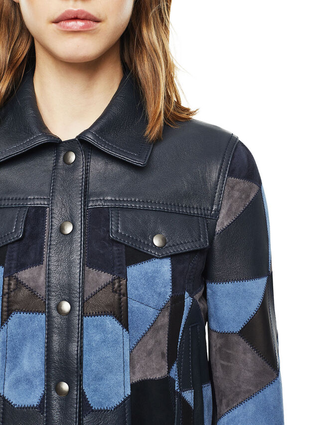 Diesel - LATCHY, Blue - Leather jackets - Image 3