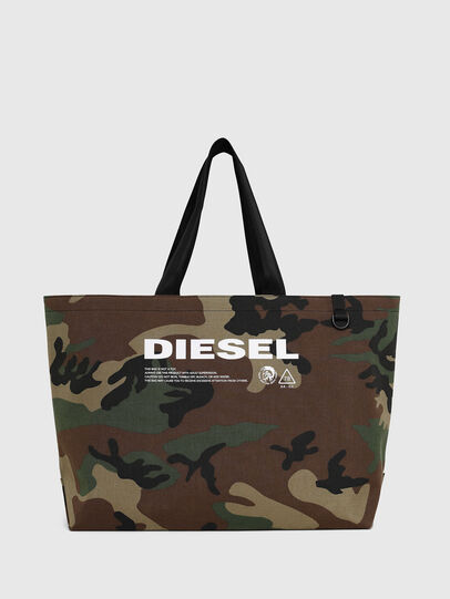 Diesel - D-THISBAG SHOPPER L, Green Camouflage - Shopping and Shoulder Bags - Image 1