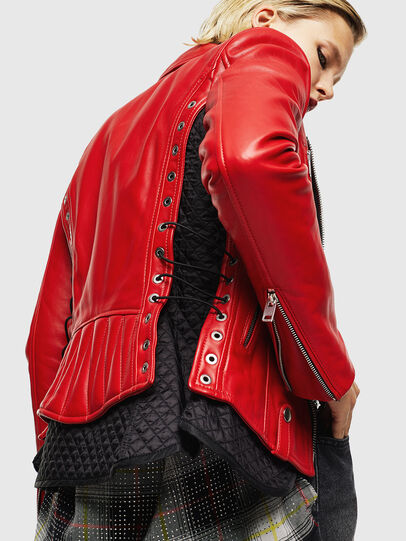 Diesel - L-CARAMA, Red - Leather jackets - Image 4
