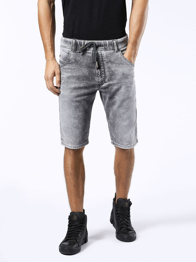 Diesel - KROSHORT JOGGJEANS, Grey Jeans - Shorts - Image 1