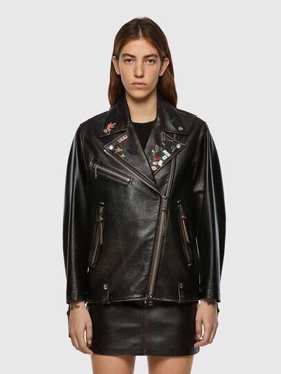 Diesel - L-EDMEA, Black - Leather jackets - Image 1