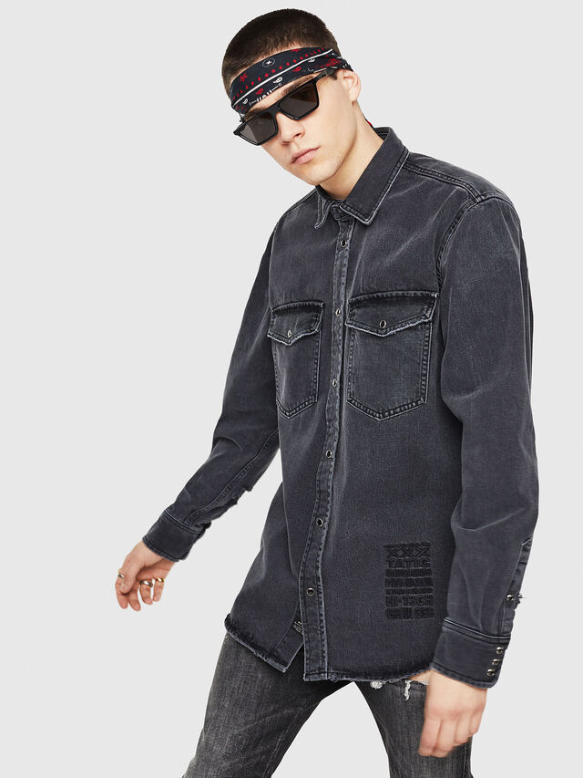 Diesel - D-ROOKE-L, Black/Grey - Denim Shirts - Image 1