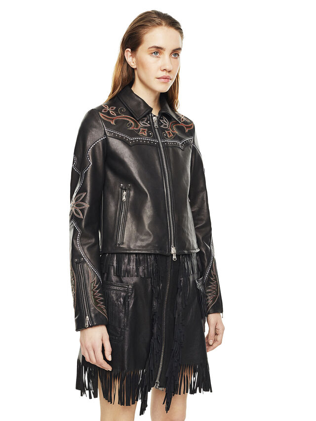 Diesel - LEXIA, Black Leather - Leather jackets - Image 5