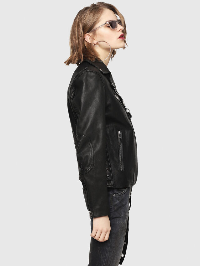 Diesel - CL-L-GOLY, Black Leather - Leather jackets - Image 4