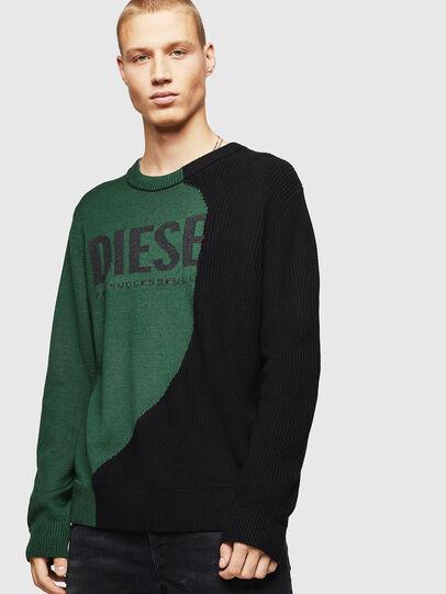 Diesel - K-HALF, Green/Black - Knitwear - Image 1