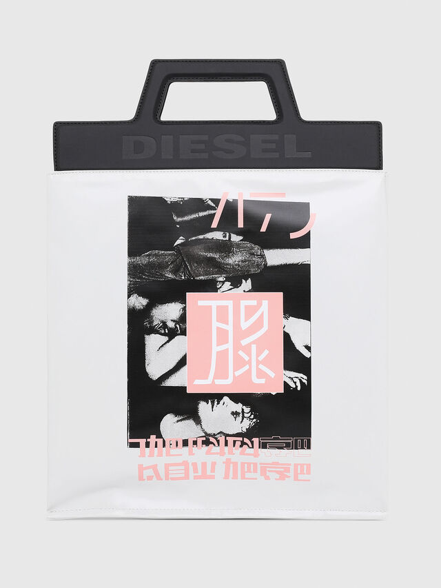 Diesel - F-ARZI SHOPPER, White/Black - Shopping and Shoulder Bags - Image 1