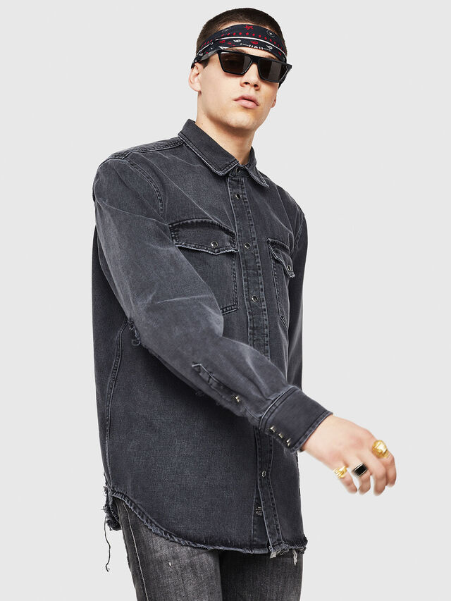 Diesel - D-ROOKE-L, Black/Grey - Denim Shirts - Image 5