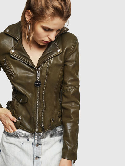 Diesel - L-SINYA-A, Military Green - Leather jackets - Image 1