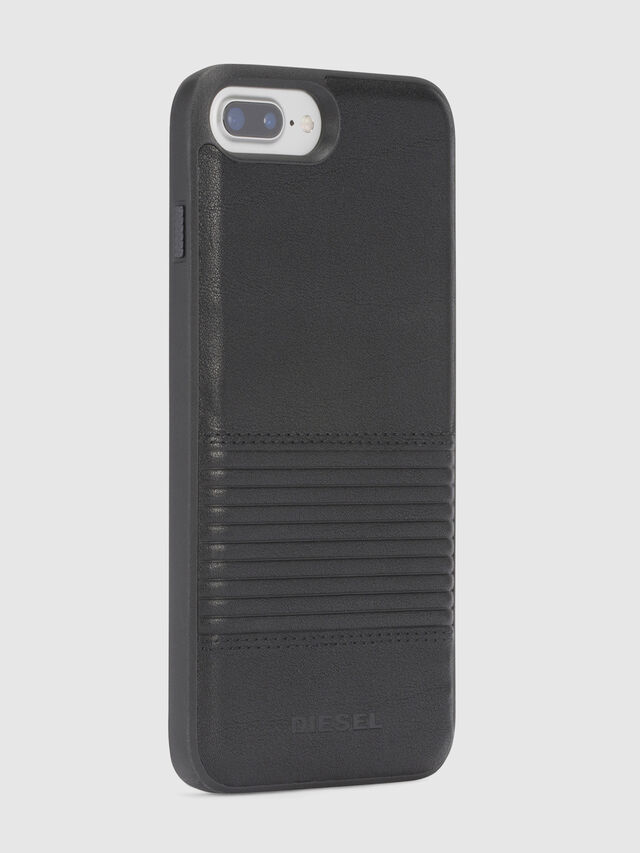 Diesel BLACK LINED LEATHER IPHONE 8 PLUS/7 PLUS/6s PLUS/6 PLUS CASE, Black - Cases - Image 5