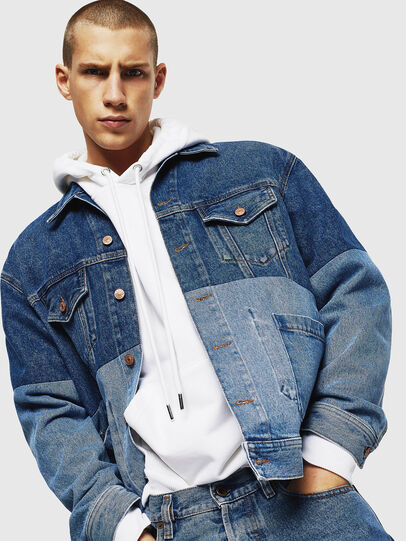 Diesel - D-PUF, Medium blue - Denim Jackets - Image 4