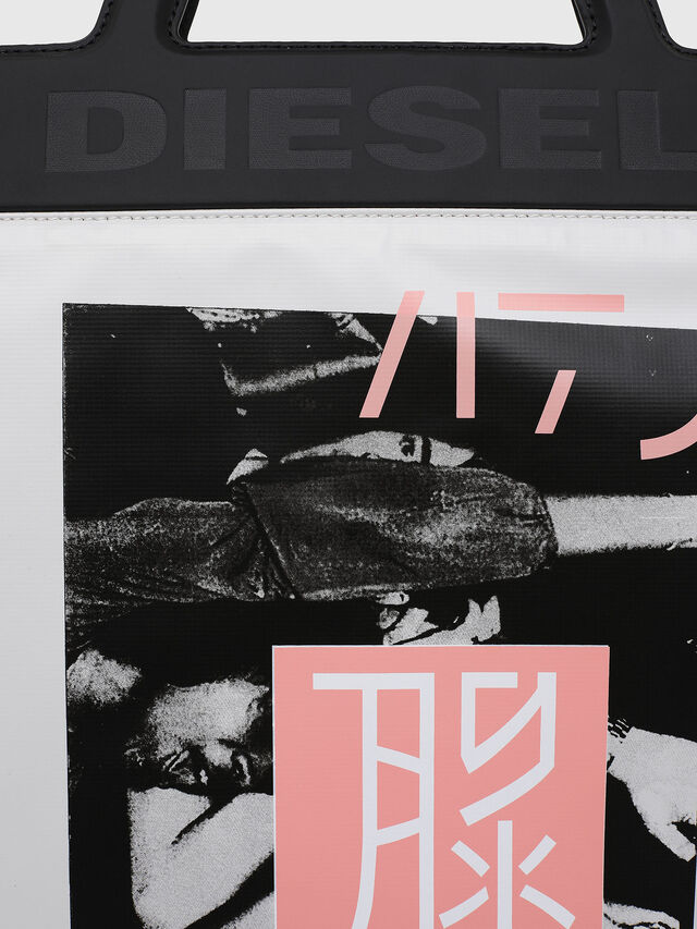 Diesel - F-ARZI SHOPPER, White/Black - Shopping and Shoulder Bags - Image 4