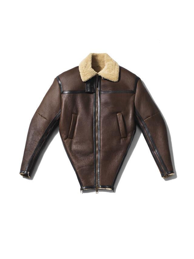 Diesel - GMLT01, Brown - Leather jackets - Image 1
