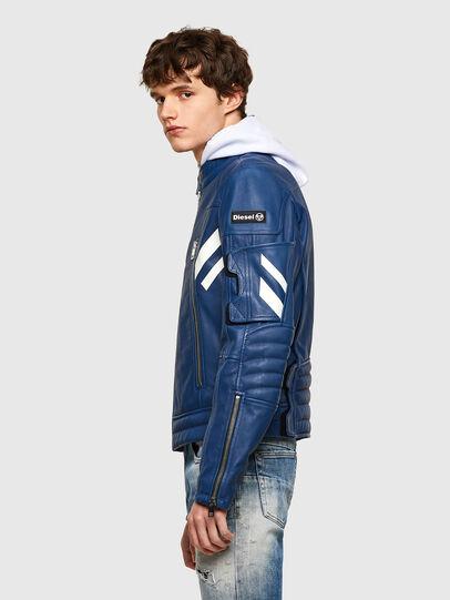 Diesel - L-FULK, Blue - Leather jackets - Image 8