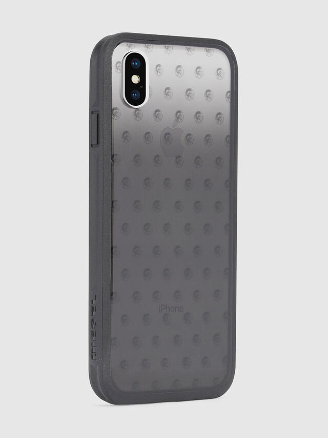 MOHICAN HEAD DOTS BLACK IPHONE X CASE, Black/Grey