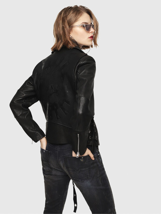 Diesel - CL-L-GOLY, Black Leather - Leather jackets - Image 2