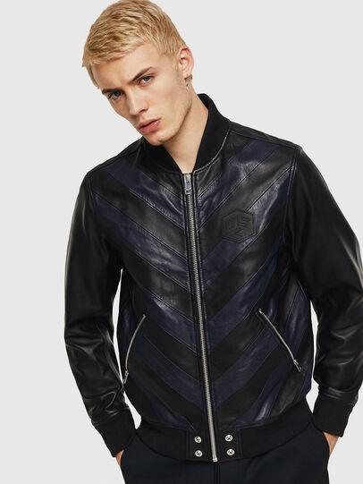 Diesel - L-OLEG, Black/Blue - Leather jackets - Image 1