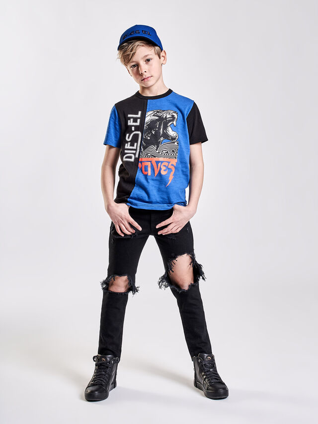 Diesel - TJUSTCUT, Black/Blue - T-shirts and Tops - Image 3